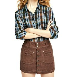 🆕️Free People Button Up Cord Mini Skirt